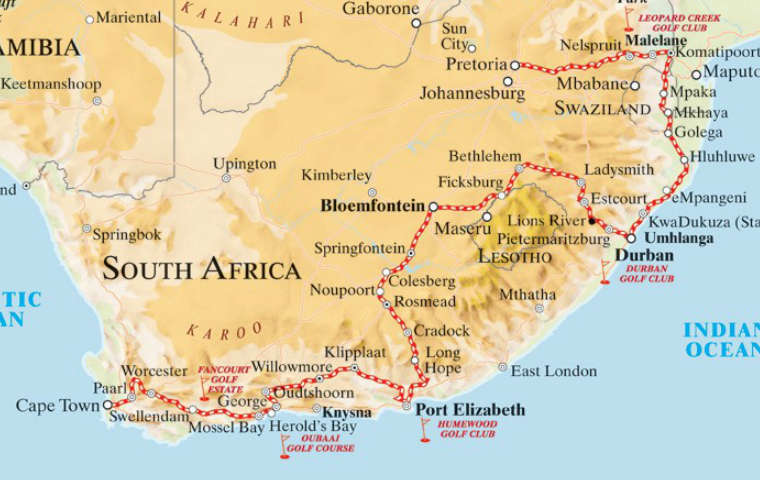 South Africa Golf Tour Train Route